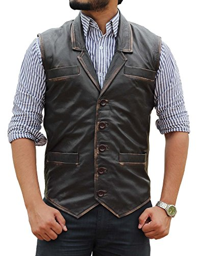 Cullen Costumes Ideas (Cullen Bohannan Costume Gift Ideas Hell On Wheels Brown Real Leather Vest For Mens L)