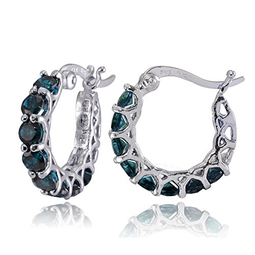 Sterling Silver London Blue Topaz Small Round Huggie Hoop Earrings
