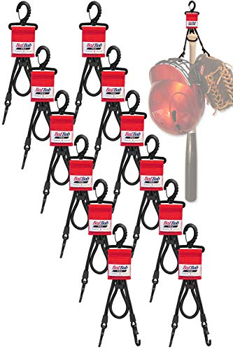 (Team 12 pack) Dugout Gear Hanger - The Dugout Organizer - For Baseball and Softball to hold bats, helmets and gloves (Red)