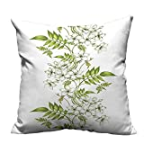 YouXianHome Throw Pillow Cover for Sofa Vector Jasmine Floral Design with Leaf Spring