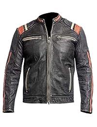 Retro Black Motorcycle Cafe Racer Leather Biker Jacket