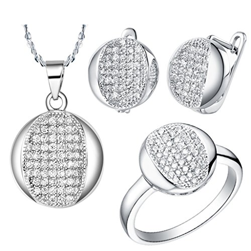 Epinki, Platinum Plated Fashion Jewelry Set Pendant Necklace Rings Earrings Circular Oval Zircon Size 6