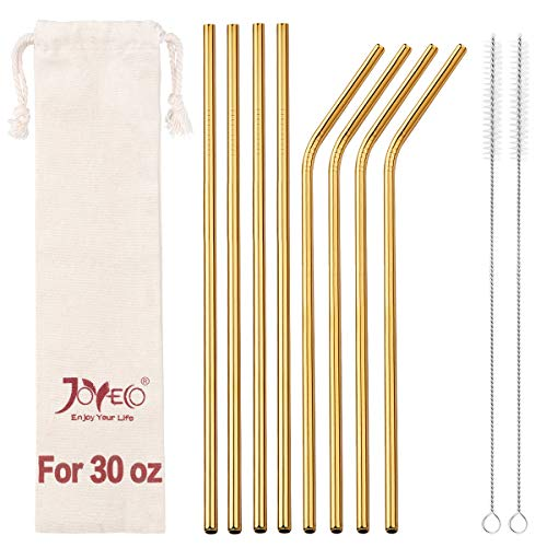 JOYECO 8 Pcs Stainless Steel Straws Drinking Reusable, Extra Long for 20oz 30oz Tumblers,10.5 x 0.24, Gold