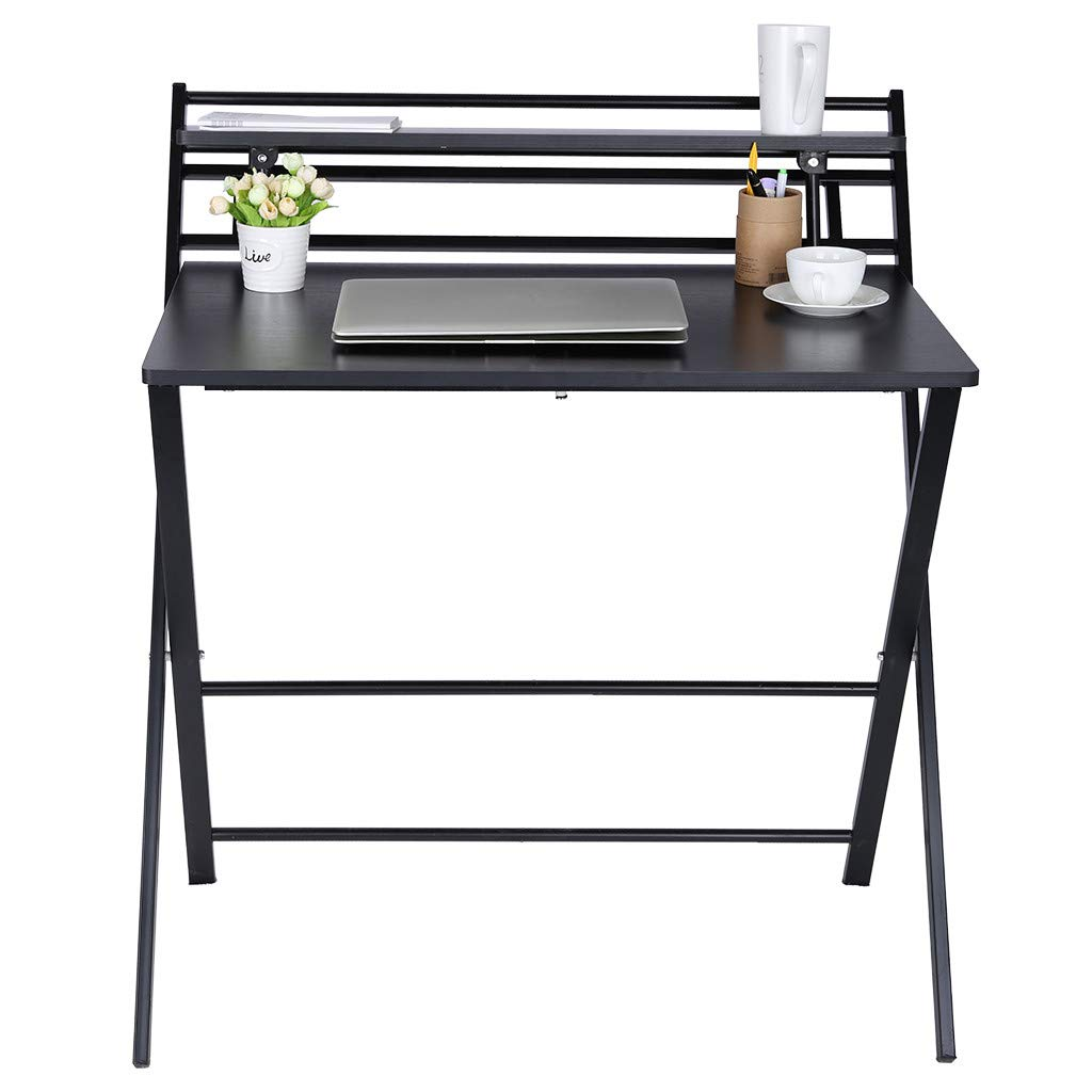 Small Folding Desk Computer Desk for Small Space Home Office Simple Laptop Writing Table No Assembly Required (Black) by Mefedcy Furniture