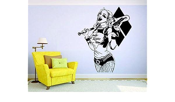 Amazon com harley quinn doctor crazy wall vinyl mural car decal sticker decor suicide squad joker home kitchen