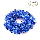 3PCS Wire Star Garland Tinsel Stars Garland Christmas Decorations Party Accessory,25 Ft x 3 (Navy Blue)