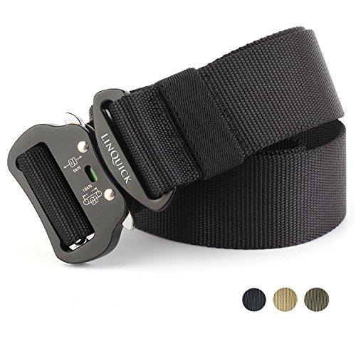 Friction Belt (LinQuick Men's Heavy Duty Belt Men Military 1.5'' Webbing Belt Quick-Release Riggers nylon Belt with Cobra Buckle (Suit wasit 34'' - 40'', Black))