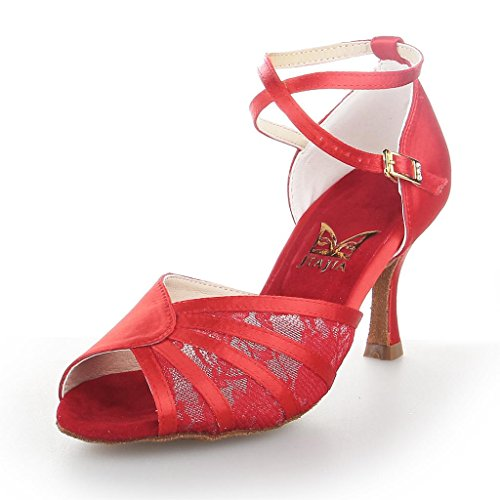 Jia Jia Y20522 Damen Sandalen Ausgestelltes Heel Super-Satin Latein Tanzschuhe Rot
