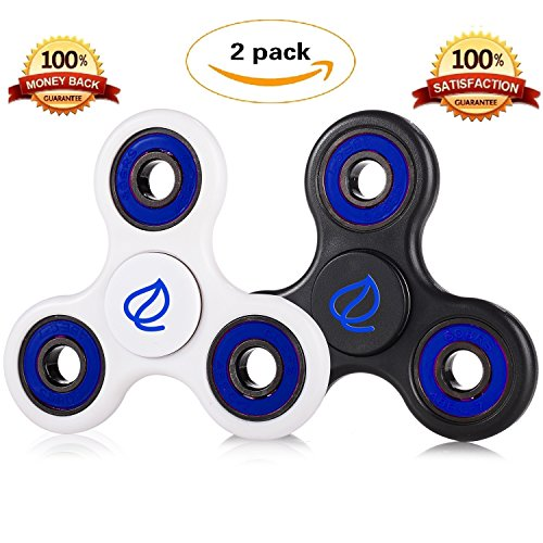 Exgreem NEW 2017 DIRT RESISTANT EDC Tri-Spinner Fidget Toy Smooth Surface Finish Ultra Durable 2-3 Min Spins Non-3D printed (two pack) ((White&Black)Blue) Exgreem