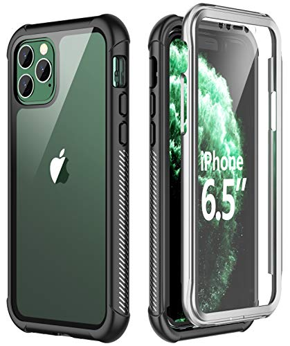 SPIDERCASE iPhone 11 Pro Max Case, Built-in Screen Protector Full Heavy Duty Protection Shockproof Anti-Scratched Rugged Case for iPhone 11 Pro Max 6.5 inch 2019 (Luxury Mobile Black Pure Phone)