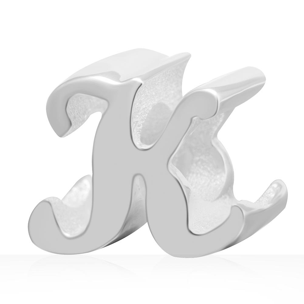 Soulbeads Alphabet Charms A-Z Letter Initial Spacer Authentic 925 Sterling Silver Charm for European Bracelet, Xmas Gifts (K)