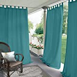 Blackout Outdoor Curtain Tab Top Turquoise 150'' W x 96'' L For Front Porch, Pergola, Cabana, Covered Patio, Gazebo, Dock, and Beach Home (1 Panel).