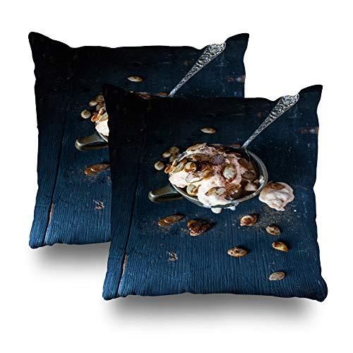 Suesoso Decorative Pillows Case 18 X 18 Inch Set of 2, Pumpkin Ice Cream Pumpkin Seeds Dark Top View Throw Pillowcover Cushion Decorative Home Decor Garden Sofa Bed Car from Suesoso
