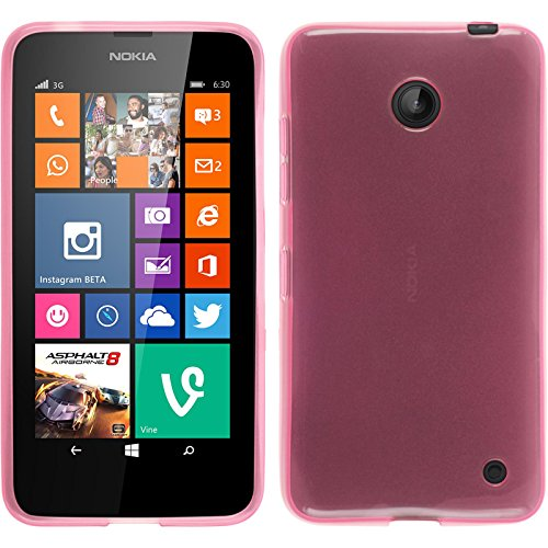 PhoneNatic Silicone Case Compatible with Nokia Lumia 630 - Transparent Pink Cover + Protective foils (Nokia Lumia 630 Transparent Case)