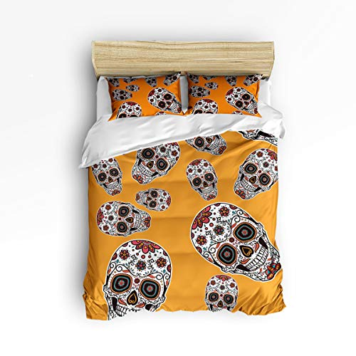 YEHO Art Gallery Soft 3 Piece Duvet Cover Set (1 Comforter Cover with 2 Pillow Cases) for Girls Boys,Horror Halloween 3D Skull with Flowers Orange Christmas Bedding Sets,Full Size]()
