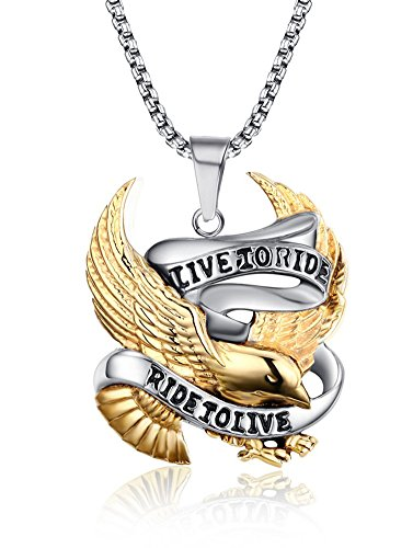 Mens Stainless Steel Casting Eagle Pendant Necklace with Free Chain 24 inches, Gold - Pendant 10k Gold Eagle