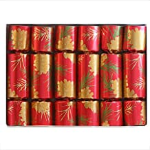 Gold Pine Cone English Christmas Crackers, set of six 10 inch holiday party crackers with tissue crown, motto, and English keepsake gift enclosed