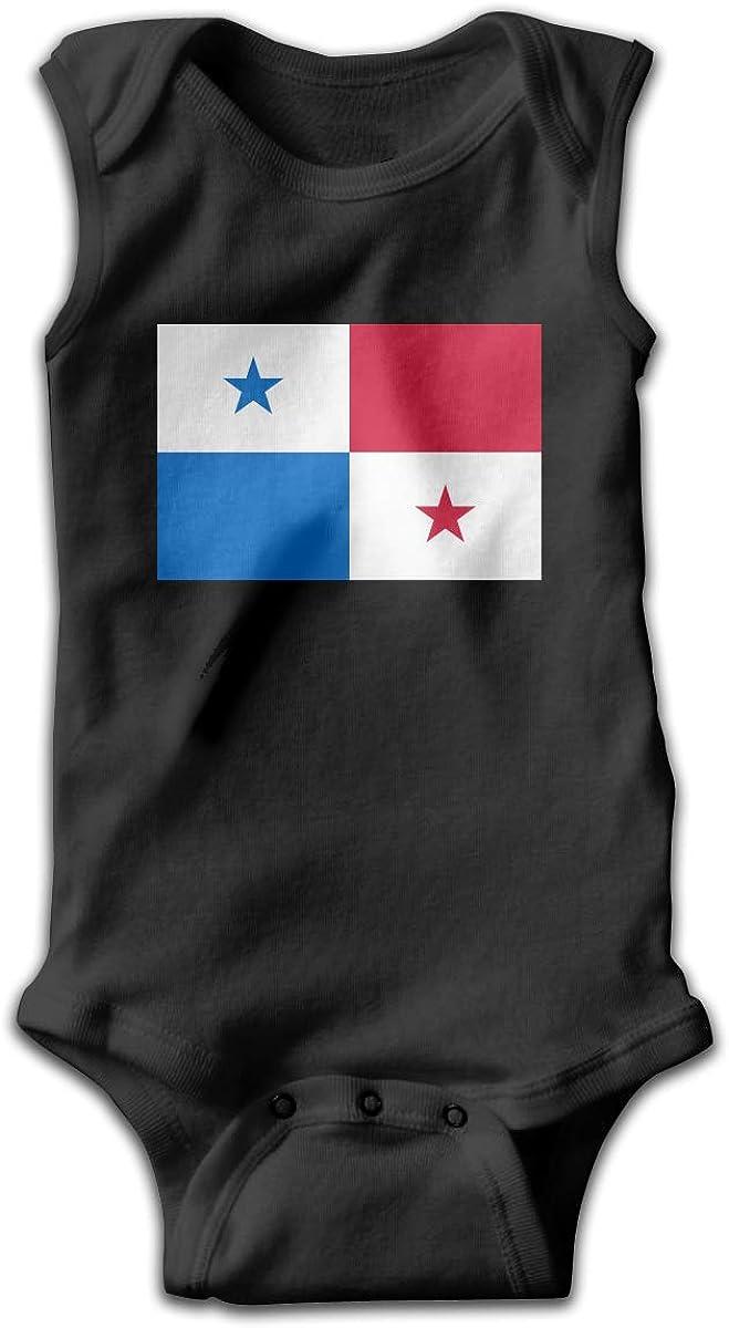 UyGFYytg Flag of Panama Baby Newborn Crawling Suit Sleeveless Onesie Romper Jumpsuit Black