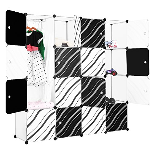 Shelving Modular Steel - LANGRIA 16-Cube DIY Modular Shelving Storage Organizing Closet with Translucent Zebra Striped Doors Design for Clothes, Shoes, Toys(White and Black)