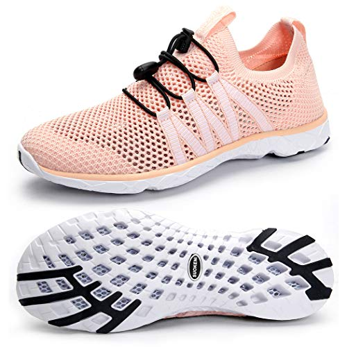 - SUOKENI Women's Quick Drying Slip On Water Shoes for Beach or Water Sports Orange Pink