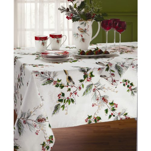 amazoncom lenox winter song 60 inch by 120 inch oblongrectangle tablecloth off white home kitchen
