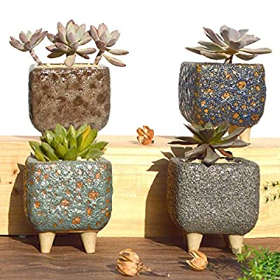 4 Sets Coarse Ceramic Succulent Pots, Handmade Breathable Succulent Cactus Planters, Flower Plant Pot with Water-Hold Legs and Drainage Hole [3.7 Inch, Plants are not Included]: Garden & Outdoor