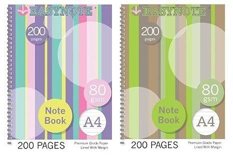 Rosa y violeta diseño de rayas A4 Note con forro archivador de libro de 80gsm decoración de la casa College para la escuela: Amazon.es: Oficina y papelería