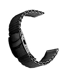 24mm Shark Mesh Milanese Stainless Steel Watch Band Black
