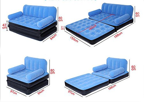 インフレータブルソファ ダブルソファベッド ダブル折りたたみソファ フロッキング エアベッド B07CZYFW84  Blue