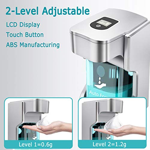 XUNPAS Automatic Soap Dispenser, Touchless Soap Dispenser with Adjustable Switches Infrared Motion Sensor Waterproof Base Suitable for Bathroom Kitchen Hotel Restaurant(Silver-4AA Battery)