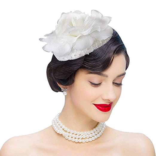 9ecec4f6ec6 Edith qi Fascinators Headband Flower Pillbox Hat Hair Hoop Wedding Headpiece  for Women (Ivory)