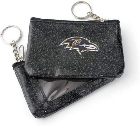 aminco Baltimore Ravens Black Sparkle ID Coin Purse Keychain