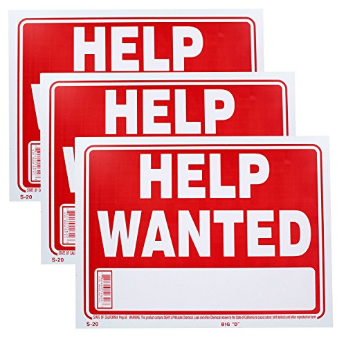 Help Wanted Poster - Bazic Small 9 x 12 Inches Help Wanted Sign, Pack of 3 (S-20)