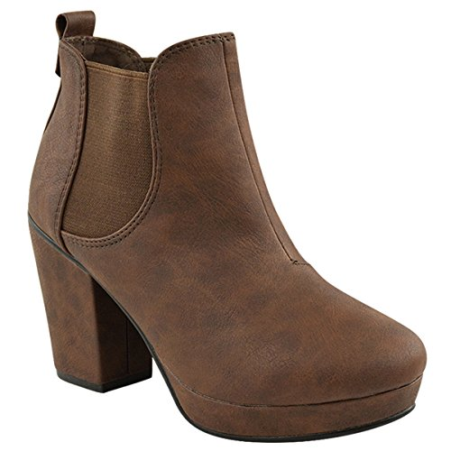 LADIES WOMENS CASUAL SLIP PULL ON ELASTICATED MID BLOCK HEEL CHELSEA ANKLE BOOTS BOOTIES SHOES SIZE Brown Faux Leather AWsDL1kJJ