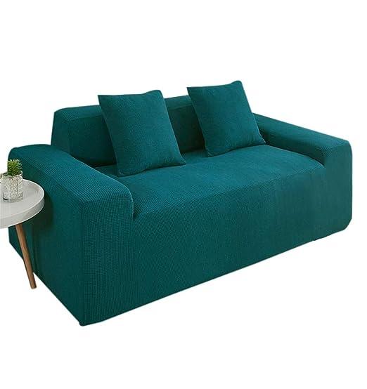 KRUIHAN Funda de Sofá Cojín Elástica - Protector para Muebles para Silla Anti-Deslizante del Cubierta Universal (2 Plazas,Verde Oscuro)