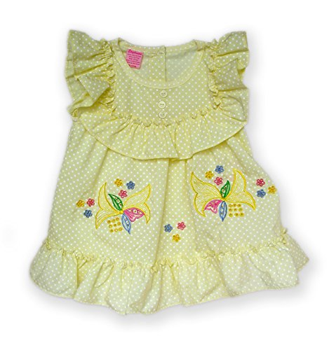 C2 Creatives Infant Baby Toddler Girls Lily Embroidered Dress (0-3 Months, - C2 Yellow