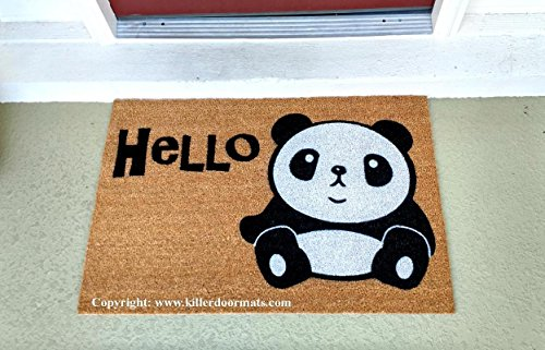 Hello Panda Cute Coir Doormat, Size Large - Welcome Mat - Doormat - Custom Hand Painted Doormat by Killer Doormats