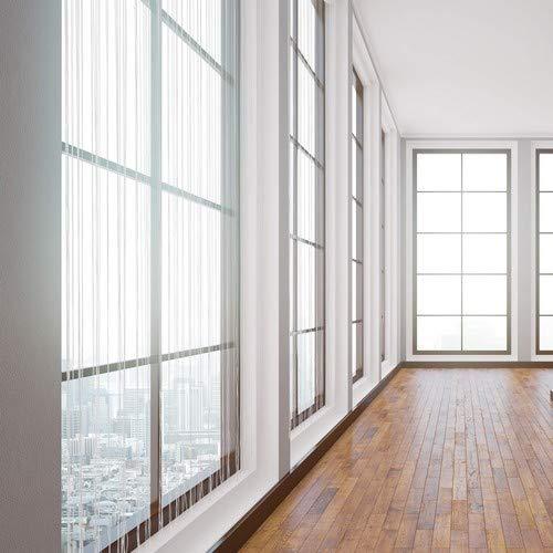 Relaxdays Rideau Fils Blanc Rideau Rideau de Porte fen/être Rideau de Fil 145x245 cm Hauteur Peut /être Raccourci Blanc