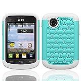lg 305c phone case - LG 306G 305C Case (Tracfone StraightTalk Net10), Defender Bling Hybrid Gel Protector Diamond Hybrid Cover (TEAL ON WHITE SKIN)