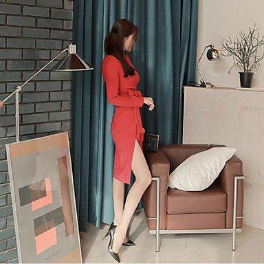 PU&PU Robe Aux femmes Gaine Simple,Couleur Pleine Col en V Mi-long Polyester , red , m