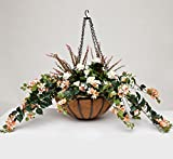 22'' Hanging Basket with Artificial Bougainvillea Arrangement with 8 Plants - Peach/Pink/Cream
