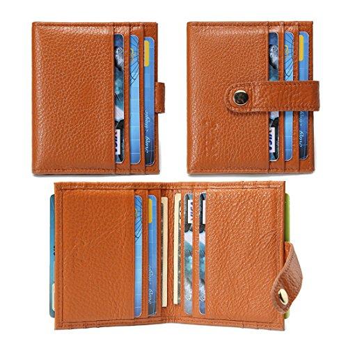 O-LET Credit Card Holder for Women Men RFID Genuine Leather Slim Minimalist Front Pocket Card Case Wallet w/ 12 Card Slots (Light Brown)