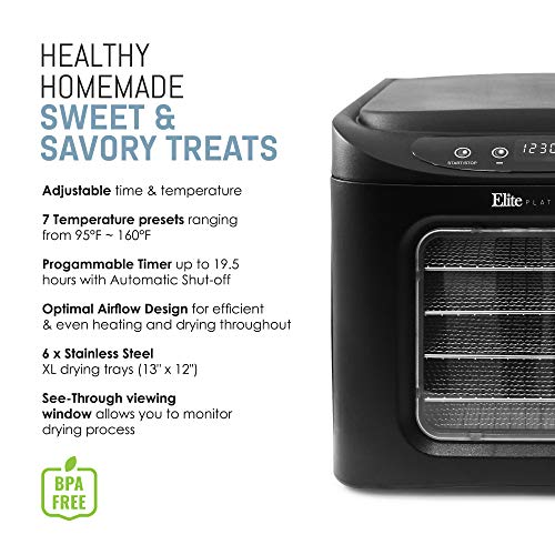 Elite Platinum Maxi-Matic EFD-313B Digital Food Dehydrator with Stainless Steel Trays, Adjustable Timer and Temperature Controls with Auto Shut-Off BPA-Free Trays, 6 Trays, Black by Elite Platinum (Image #4)