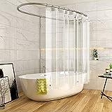 AooHome 防カビ シャワーカーテン 透明 90 × 180cm 防水 バスカーテン ユニットバス 浴室 間仕切り 北欧 クリア 清潔 フック付き