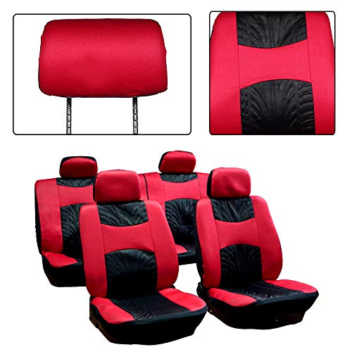 ck/Red Car Seat Cover w/Headrest Cover 8PCS Breathable Embossed Cloth Retractable Auto Cover Replacement for Most Cars ()
