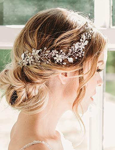 - Deniferymakeup Bridal Rose Gold Crystal Hair Vine Bridal Long Hair Vine Wedding Headpiece Bridal Hairpiece Crystal Headband Bridal Hair Accessory for Women and Girl (Rose gold)
