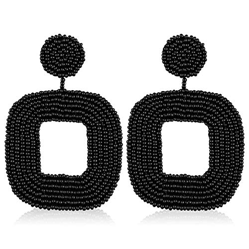 Statement Bead Hoop Earrings Handmade Square Beaded Drop Dangly Earrings for Women Girls Bohemian Novelty Fashion Lightweight Daily Studs Ear Jewelry Accessories with Gushion Gift Box GUE133 Black