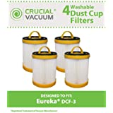 4 Style DCF-3 Filters for all Eureka 5740-5799 and 5840-5898 model vacuum cleaners; Compare to Eureka Part Nos. 61825, 62136, 62136A; Designed & Engineered by Crucial Vacuum
