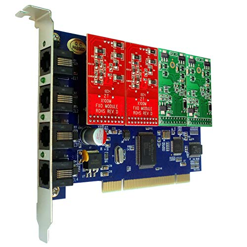 4 Port FXS FXO Card with 2 FXS + 2 FXO Ports,Supports Asterisk,Freepbx,Issabel,dahdi PCI Card VoIP Voice Board