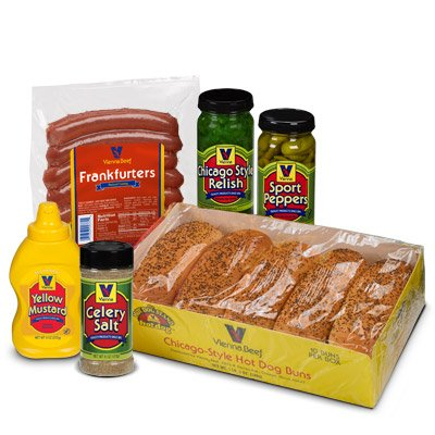Vienna Beef Natural Casing Chicago Style Hot Dog Kit 10 (Beef Hot Dog)